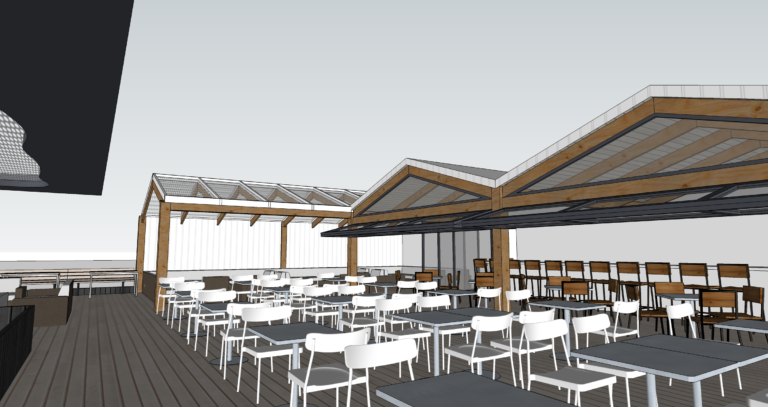 A rendering of the rooftop portion of the Kairoa Brewing Company brewpub planned for University Heights